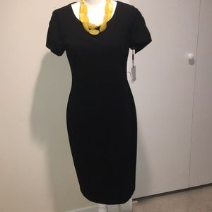Calvin Klein Tulip Sleeve Black Sheath Dress